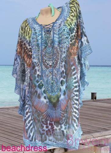 Beachdress in 3 kleuren met strass steentjes