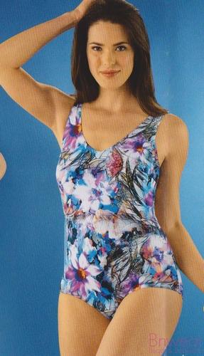 Gevoerd badpak van Naturana in Color flower 31707