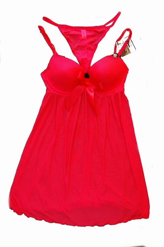 Slip dress met push-up cups in rood en zwart