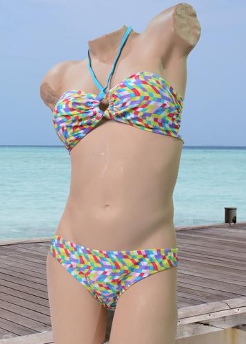Tiener bandeau bikini in groen gele blok print