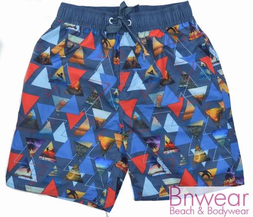 Zwemshort in Sunet blue print 128-164