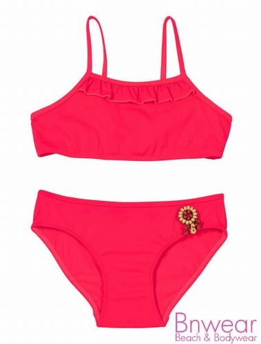 Kinder bikini van Lingadore in coral met fringe