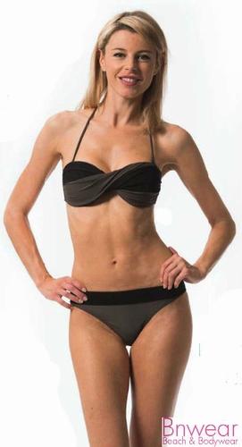 CBK bandeau bikini in zwart met taupe