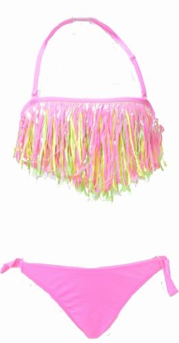 Fringe meisjes bikini in felle kleuren