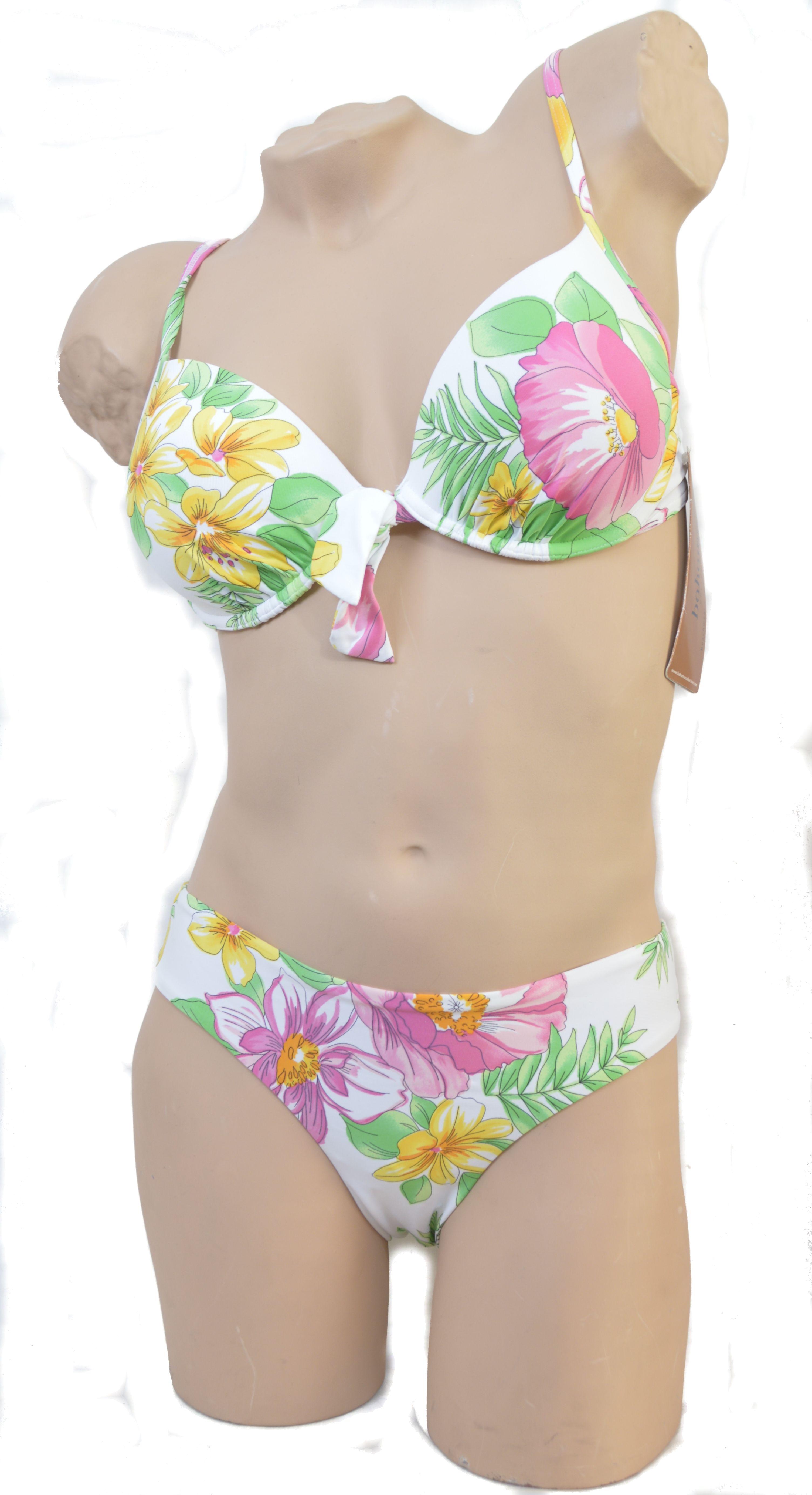 Bahama Beach push-up bikini in wit met bloemprint.