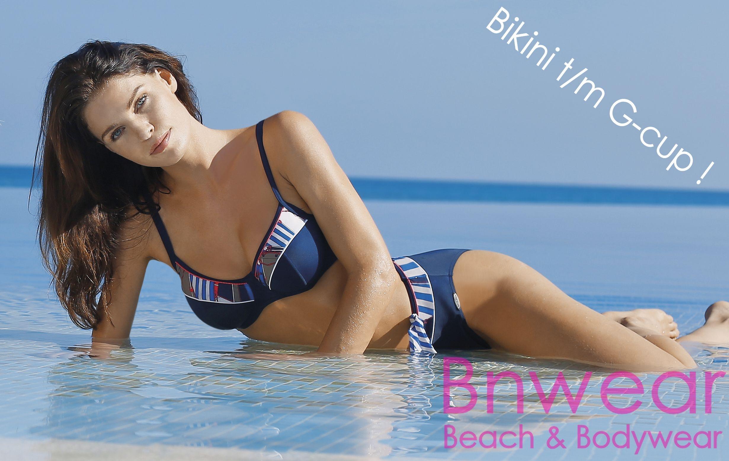 Strapless Badpak Grote Cupmaat.Bikini In Marine Sunflair Serie Sailor Girl Nr 21041